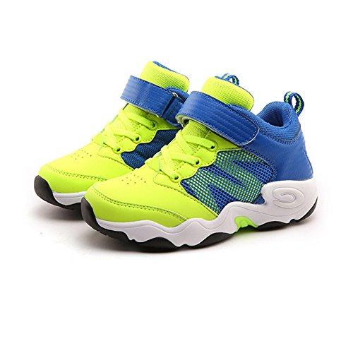 Jungen Sneakers Sportliche Atmungsaktive Halbschaft Flache Warme Winterschuhe Grün
