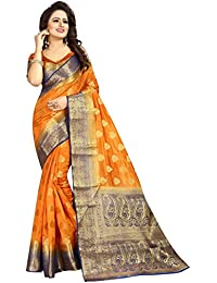 SATYAM WEAVES WOMEN'S ETHNIC WEAR JARI BORDERED KANJIVARAM COTTON SILK SAREE. (SHEESH MAHAL)
