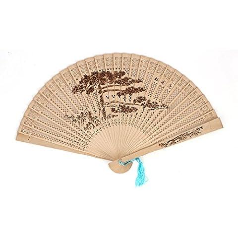 Verano azul borlas para cuenco tibetano saludo imprimir plegable de madera de pino odoríferas compartimentos de mano