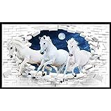 graphics world Vastu Poster White 3 Horse Painting