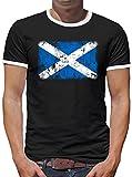 TLM Schottland Vintage Flagge Fahne Kontrast T-Shirt Herren M Schwarz