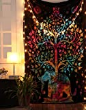 Rajrang Tree Of Life Psychedelic Wall Hanging Elephant Tapestry, Multi/Black, Decorative Wall Hanging, Picnic Beach Sheet