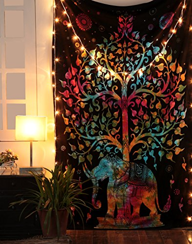 Tapiz elefante, tapiz árbol de la vida, colgantes de la pared, hippie wall hanging tapestry, bohemio decorativo cubierta del sofá Por Rajrang