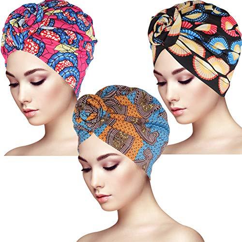 Bolonbi Lot de 3 Bandeaux Turban Motif Africain Nœud Bandeau Élastique Mode Imprimé Femme Bandeau Bohème pour Femmes et Filles, M, Multicolore