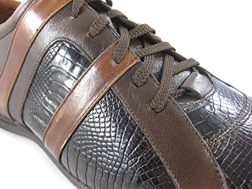 Franco Cuadra Calf and Cocodrile Leather Shoes for Men Chocolate-Tan