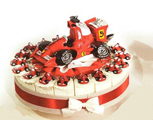 Torta bomboniere 18 fette di torta con auto sportiva formula portachiavi in resina completo di confetti bianchi crispo al cioccolato