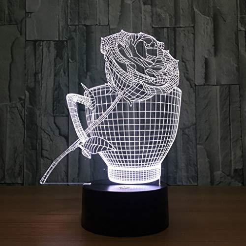 XYD 3D Vision Lumière stéréo Coloré Pente LED Art lumière USB Charge Accueil décoration Festival Cadeau Lampe de Table Veilleuse