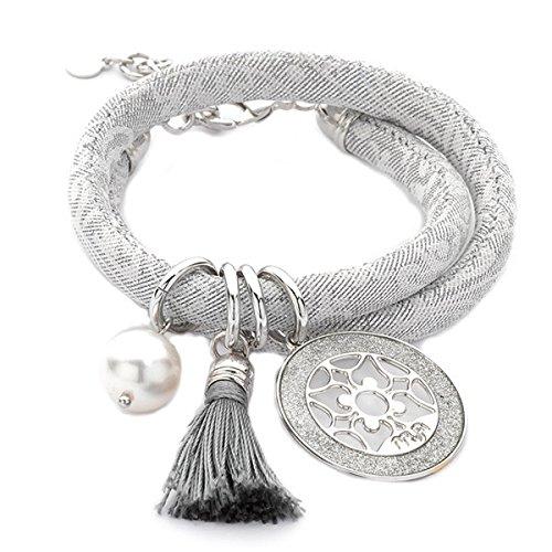 Armband Halskette Jacquard Boccadamo doppelt gewickelt mit Charms ref.jc/br04 (Jacquard-armband)