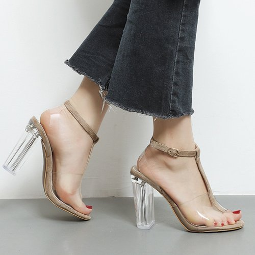 SUHANG sandali In Cristallo Trasparente Con Sandali Femmina 0714 Black