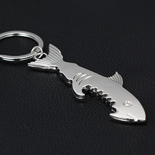 NawaZ Funny und Fashion Key Dekoration Shark Flaschenöffner Anhänger Metall Schlüsselanhänger Geldbörse Handtasche Keychain Geschenk (Silber) -