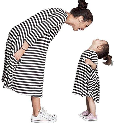 Bekleidung Longra Mama und Kinder Mädchen schwarz und weiß gestreiften Frühjahr Baumwolle Kleider Kleid mit Familie Freizeitkleidung Beiläufig Kleider (120CM (5-6Jahre Kids), Black) (Mädchen Bekommen Gestreift)