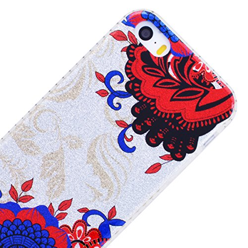 WE LOVE CASE iPhone 6 / 6s Hülle Glitzern Diamant Blumen iPhone 6 / 6s Hülle Hardcase Blau Handyhülle Tasche für Mädchen Elegant Backcover , Harte Case Handycover Stoßfest Bumper , Ultra Dünn Schale S flower 1