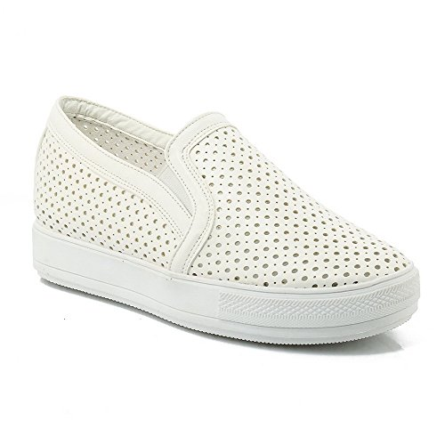 Senhoras Agoolar Baixo Puxar Calcanhar Puramente Para Cerca Toe Bombas Sapatos Brancos