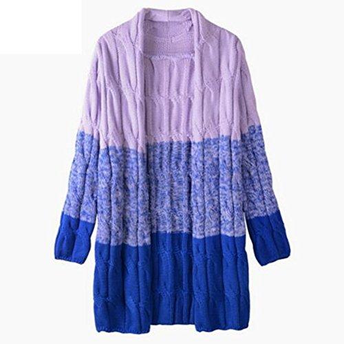 Newbestyle Femme Automne Hiver Cardigan Tricoté Manche Longue Décontracté Coloré Outwear Cardigan Pull Sweater Bleu