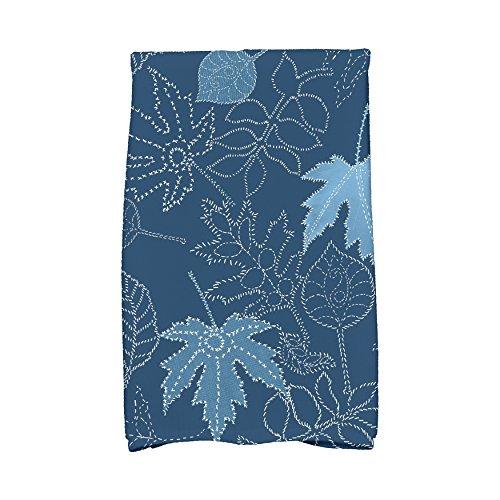 E von Design ktfn746bl44Dotted Blätter FLORAL PRINT Küche Handtuch, 40,6x 63,5cm blau (Floral Print Handtücher)