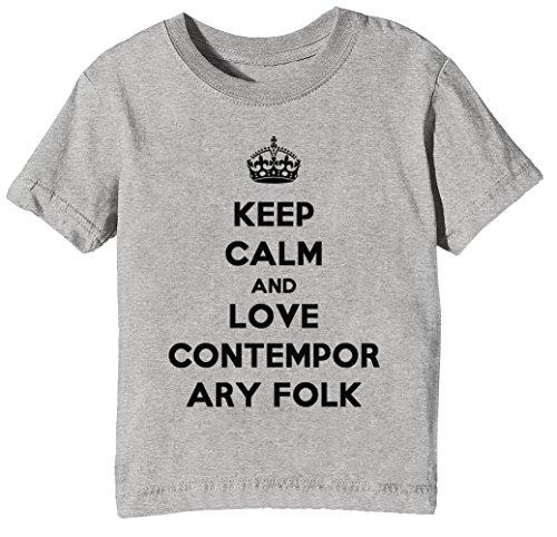 Keep Calm and Love Contemporary Folk Kinder Unisex Jungen Mädchen T-Shirt Rundhals Grau Kurzarm Größe M Kids Boys Girls Grey Medium Size M