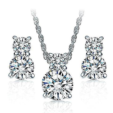 Collier plaqué or blanc 18K Cristal Boucles d'oreille à tige Oxyde de Zirconium Ensemble de bijoux pour les femmes Teen Girl