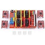 Akozon Módulo de expansión Arduino CNC shield V3.0 + 4pcs A4988 controlador de motor paso con disipador8, kit de 3D impresora