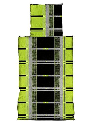 Baumwolle Seersucker Bettwäsche BÜGELFREI Rainer grün 4 tlg. 135x200 cm