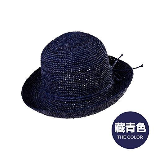 LLZTYM Chapeau/Femme/Été/Chapeau De Paille/Plage/Pliant/Suncap/Ombrage/Suncap/Tête/Cadeau/Cadeau Blue