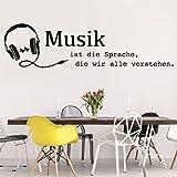 tjapalo® S-pkm108 Flur Wandspruch Wandtattoo Wohnzimmer Wandtatoo Musik ist die Sprache die wir alle verstehen (B 170 x H 58cm)