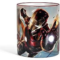 Avengers - Tazza con motivo di Iron Man - Stampa circolare, manico e bordo colorati per veri fan dei super eroi - Licenza ufficiale - 300 ml