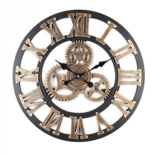 yifutang Silencieux 3D Quartz Horloge Murale Vintage À La Main Salon Chambre Décoration Wall Clocks, golden - Große Zeitgenössische Wall