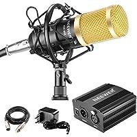 Neewer Kit de Micrófono y Fuente Phantom - Micrófono NW-800, 48V Fuente Phantom, Adaptador de Corriente, Montaje de Choque, Cubierta de Espuma Anti-Viento, Cable de Audio XLR y Fuente de Alimentación