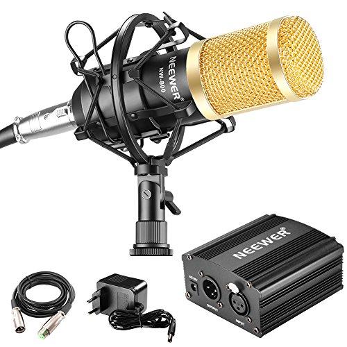 Neewer Kit di NW-800 Microfono & Alimentazione Phantom: (1) NW-800 + (1) Alimentazione 48V Phantom + (1) Adattatore + (1) Supporto + (1) Antivento in Spugna + (1) Cavo Audio XLR + (1) Cavo
