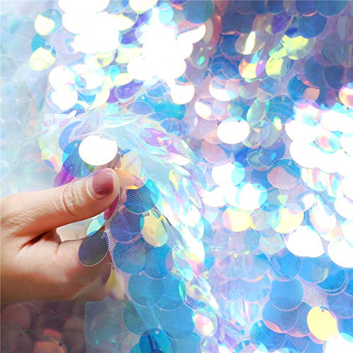 Jiaxingo Irisierende Pailletten Party Tischdecke Glitter Stoff Party Kulissen Für Hochzeit Weihnachten Baby Shower Mermaid DIY Decor (45 * 130cm)