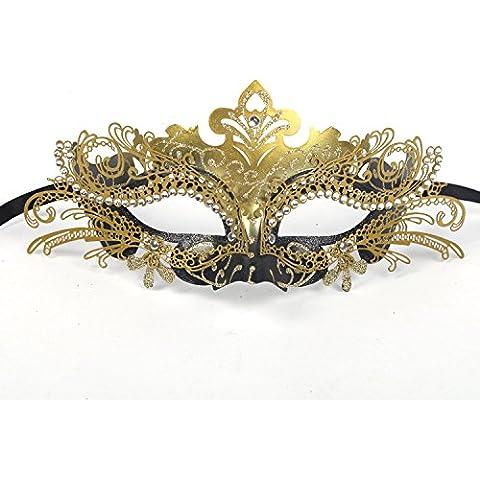 cooboo Maschera Maschera in metallo tagliato al laser con strass per Halloween Natale sera, metallo plastica, Gold, Taglia