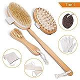 LOETAD Cuerpo Cepillo Seco Cerdas Naturales Limpiar Espalda y Cuerpo Exfoliación Masaje 7 piezas