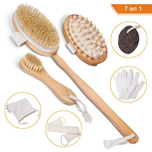LOETAD Cuerpo Cepillo Seco Cerdas Naturales Limpiar