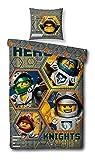 BERONAGE Wende Linon Kinder Bettwäsche Lego Nexo Knights - 135 x 200cm + 80 x 80cm - Motiv Hero - Neu & Ovp - 100% Baumwolle - Lance - Axl - Macy - Clay - Aaron - Jestro - deutsche Größe