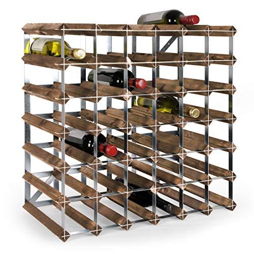 Weinregal/Flaschenregal System TREND für 42 Fl, Holz Kiefer dunkelbraun gebeizt, stapelbar/erweiterbar, komplett montiert - H 61,2 x B 61,2 x T 30 cm