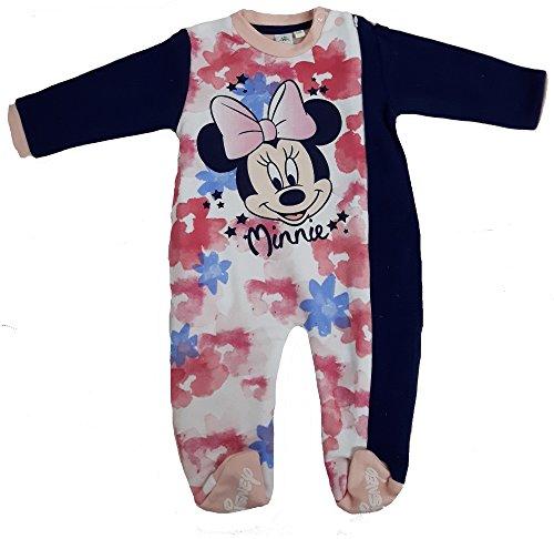 Disney tutina con piedini topolina minnie pigiamone caldo cotone con cerniera laterale neonat wd100981 (24 mesi, marine)