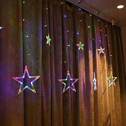 JYSPORT LED Lichterkette Lichtervorhang Weihnachtsdeko 2M Sternenvorhang Bunte für Fenster Garten Zimmer Urlaub Hochzeit (Star Farbe)