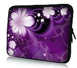 wortek Universal Laptoptasche Schutzhülle Sleeve aus Neopren bis ca. 13,3 Zoll - Blumen Lila Weiß