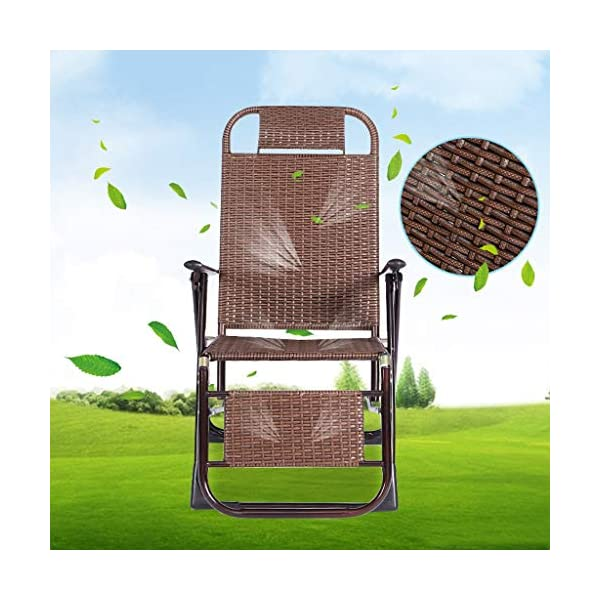 MRZZ Wicker Chair Recliner,folding Lunch Break Lazy Office Nap Bed Outdoor Beach Chair Adult Siesta Backrest Lounge Chair Balcony Garden Office. (Color : Bronze)  No need to install and retract freely, 2 seconds fast folding storage, storage does not occupy land. Bold steel pipe, strong bearing capacity, high pressure resistance, strong toughness, not easy to deform. Artificial double-sided rattan, cool and breathable sunscreen and rainproof. 3