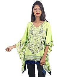 Secret Bazaar Women's Rayon African Print Kaftan Top(Green)