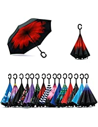 ☂☂Double Layer Inverted Umbrella With C-Shaped Handle, Anti-UV Waterproof Windproof Straight Umbrella, Multi Design ☂☂