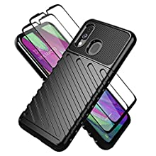 Teayoha Case for Samsung Galaxy M30s, with Tempered Glass Screen Protector [2 PCS],Shockproof Heavy Duty Protection Full-Body Thick Silicone Groove Design Protective Cases Phone Cover - Black