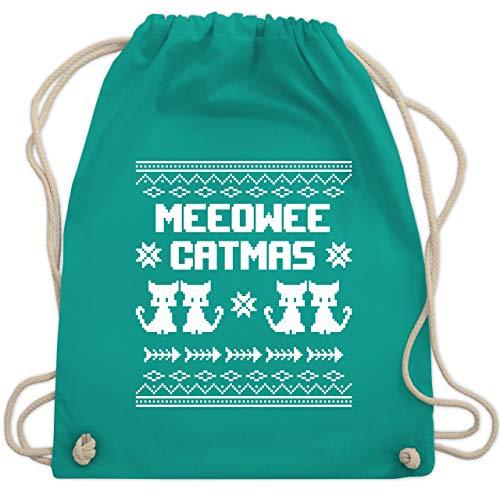 Weihnachten & Silvester - Ugly Christmas I Meeowee Catmas - Unisize - Türkis - WM110 - Turnbeutel & Gym Bag (Sweater Ideen Hässliche Für Christmas)