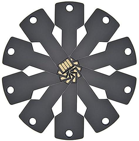 FEBNISCTE 8GB Metallschlüssel USB2.0-Flash-Speicher-Stick - 10 Stück Schwarz