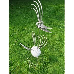 Edelstahl Vogel/Garten Skulptur 1m Granitvogel V2A