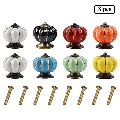 e-goal-8pcs-pumpkin-shape-ceramic-cabinet-antique-knobs-handles-with-8pcs-screws-8-color