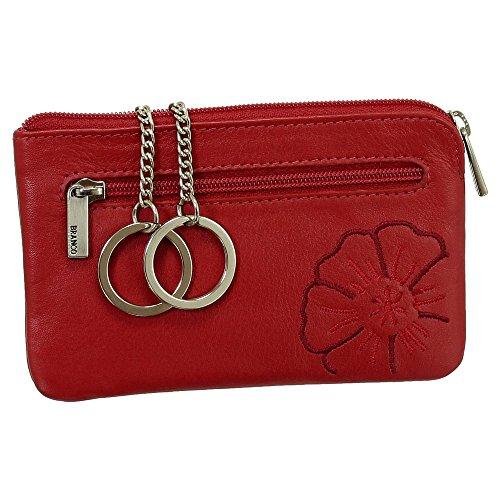 Leder Schlüsseletui Schlüsseltasche Schlüsselmappe Schlüsselbeutel mit Reißverschlussfach Farbe rot