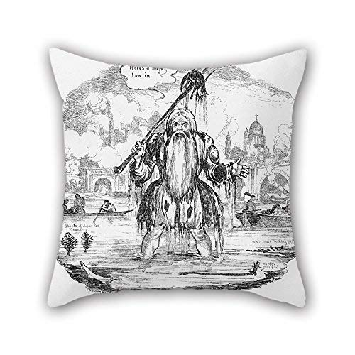 Xukmefat Oil Painting Heath, William - Songsheet - The Lamentation of Old Father Thames Throw Pillow Case 18 X 18 Inches / 45 by 45 cm for Lounge Adults Indoor Boy Friend Him Study Room with 2 S -