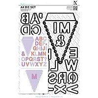 Docrafts - Fustelle A4, a forma di bandierina e lettere dell'alfabeto, confezione da 31 pezzi