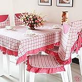 ANHPI Schmutz-beständig Gitter Britische Art Haus Tischdecke Multi-Größe Mehrfarben Ein Satz 2 Ornamental Design,Red-130*130cm